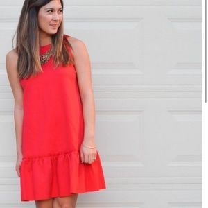 Pink/Orange Drop Waist Ruffle Hem Cocktail Dress